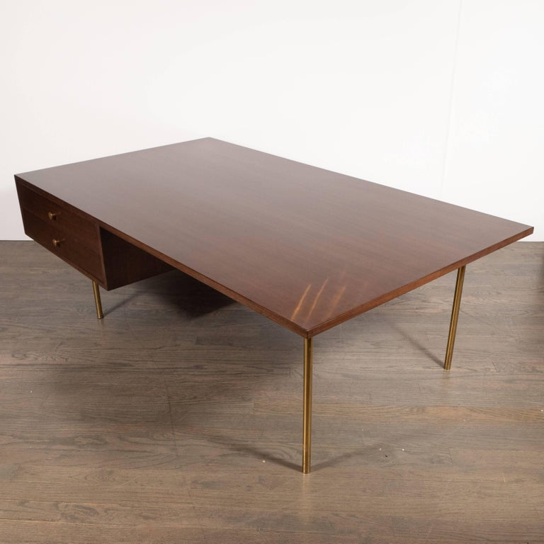 Mid-Century Modern Two-Drawer Cocktail Table in Walnut and Brass, Harvey Probber For Sale 2