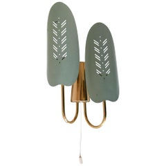 Mid-Century Modern Two Flamed Brass Wall Lamp or Sconce, 1950, Germany