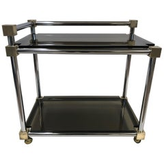 Mid-Century Modern Two-Tier Brass, Chrome and Smoked Glass Bar Cart