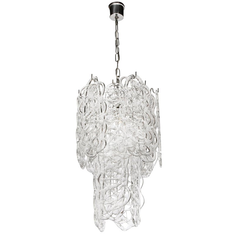 "Mid-Century Modern Two-Tier Chandelier in Translucent ""Woven"" Murano Glass For Sale"