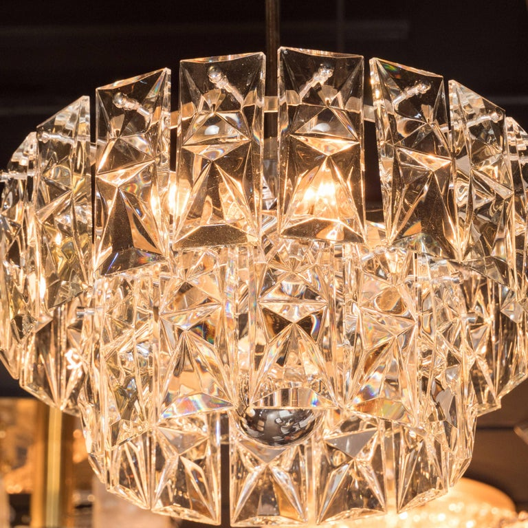 Mid-Century Modern Two-Tier Cut-Glass & Polished Nickel Chandelier by Kinkeldey In Excellent Condition For Sale In New York, NY