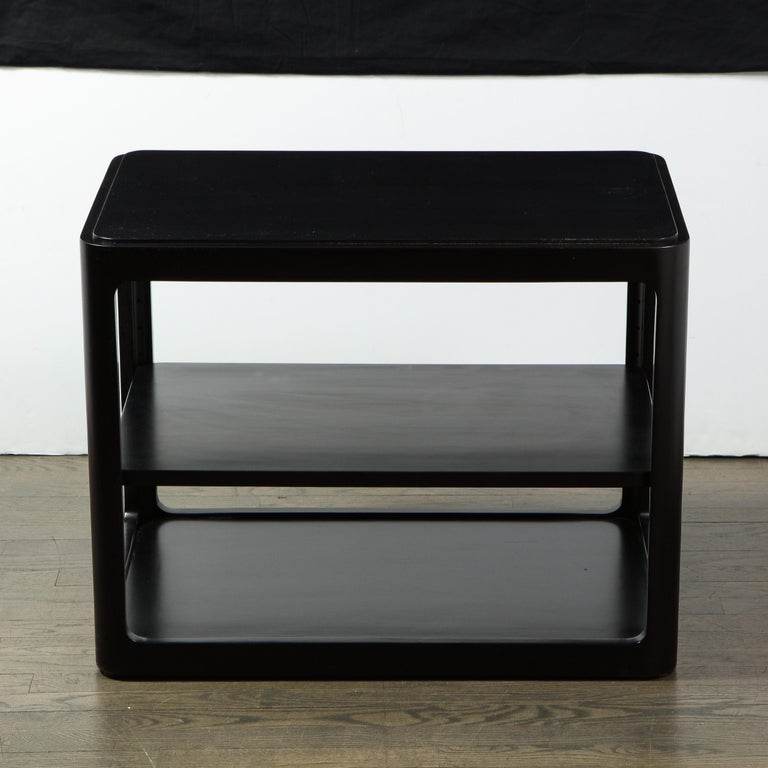 American Mid-Century Modern Two-Tier Ebonized Walnut Side Table Signed Dunbar
