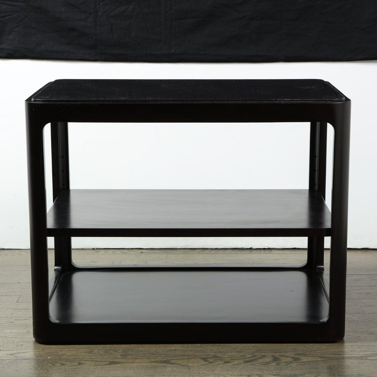 Mid-Century Modern Two-Tier Ebonized Walnut Side Table Signed Dunbar In Excellent Condition In New York, NY
