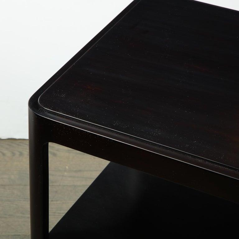 Late 20th Century Mid-Century Modern Two-Tier Ebonized Walnut Side Table Signed Dunbar