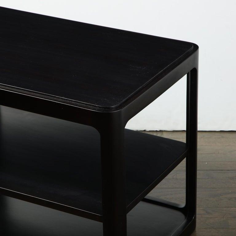 Mid-Century Modern Two-Tier Ebonized Walnut Side Table Signed Dunbar 1