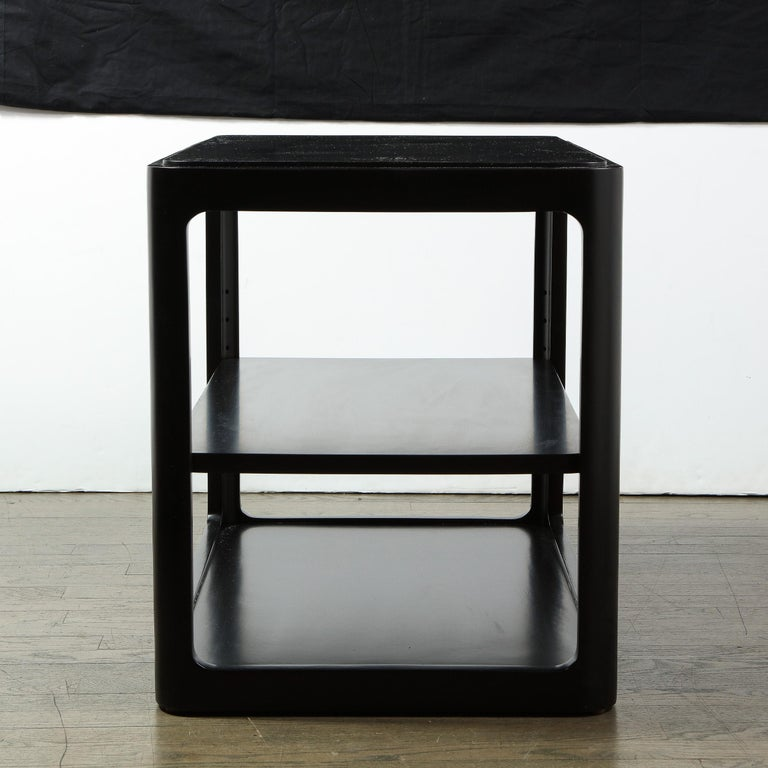 Mid-Century Modern Two-Tier Ebonized Walnut Side Table Signed Dunbar 2