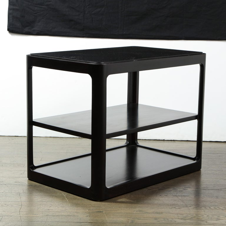 Mid-Century Modern Two-Tier Ebonized Walnut Side Table Signed Dunbar 3