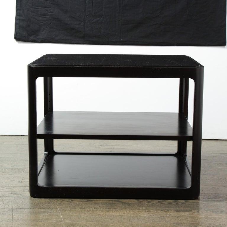 Mid-Century Modern Two-Tier Ebonized Walnut Side Table Signed Dunbar 4