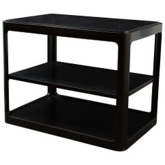 Mid-Century Modern Two-Tier Ebonized Walnut Side Table Signed Dunbar