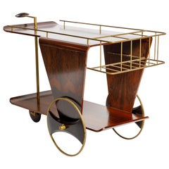Mid-Century Modern Two-Tier Tea-Cart in Rosewood, Brazil, 1950s