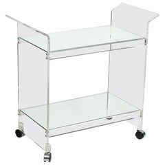 Mid-Century Modern Two-Tier Translucent Lucite Bar Cart on Chrome Castors