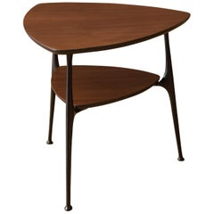 Mid-Century Modern Two-Tier Triangle Black and Walnut End Table