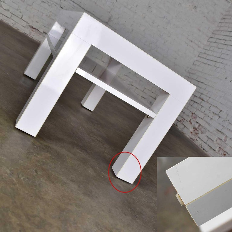 Mid-Century Modern Two-Tiered White Laminate Parson's Style Coffee or End Table For Sale 11
