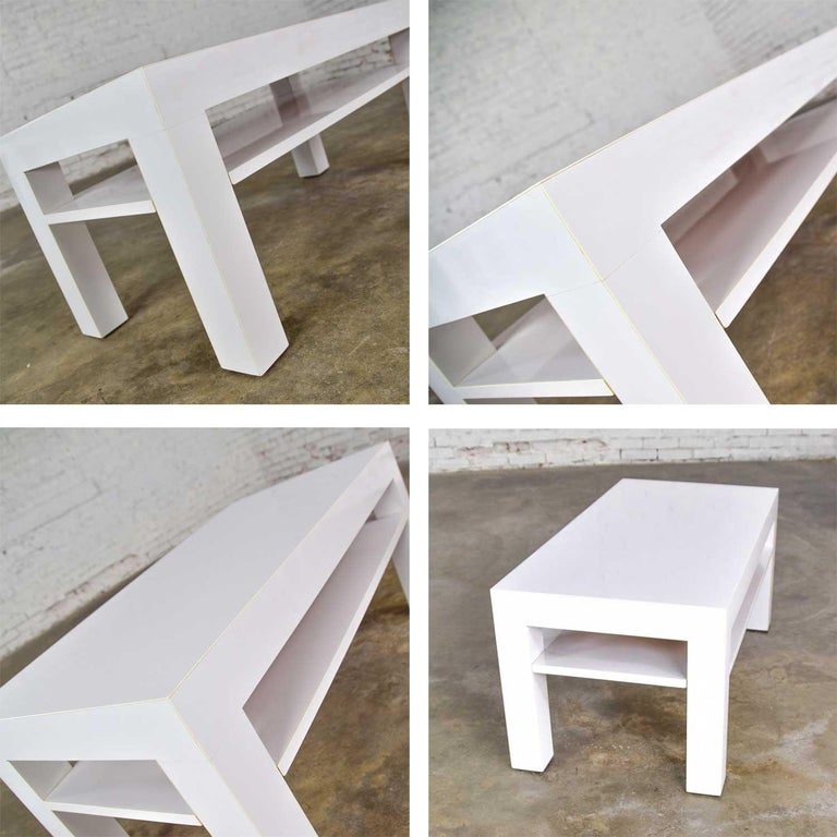 Mid-Century Modern Two-Tiered White Laminate Parson's Style Coffee or End Table For Sale 12