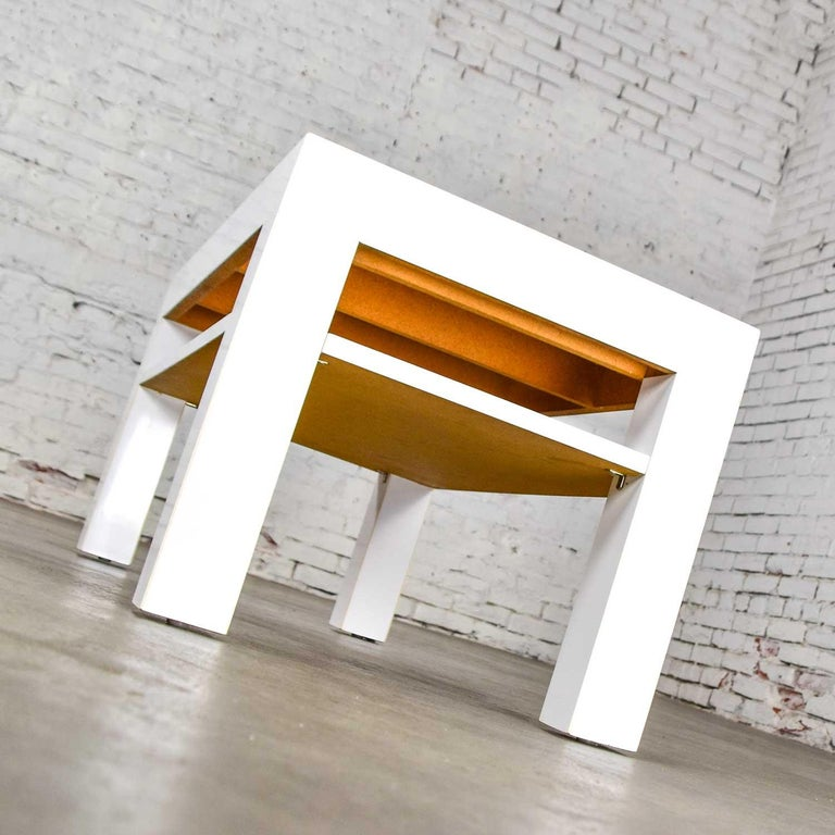 Glass Mid-Century Modern Two-Tiered White Laminate Parson's Style Coffee or End Table For Sale