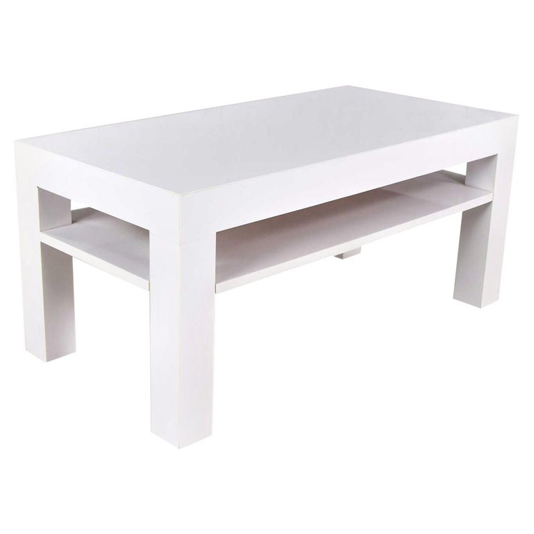 Mid-Century Modern Two-Tiered White Laminate Parson's Style Coffee or End Table For Sale