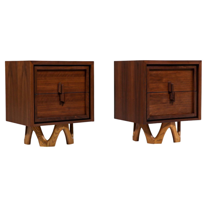 Mid-Century Modern Two-Tone Walnut & Oak Night Stands