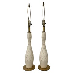 "Mid-Century Modern ""Tye of California"" White and Gold Ceramic Table Lamps"