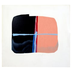 Mid-Century Modern Unframed Abstract Monoprint Signed Dianne Sheldon, 1970s