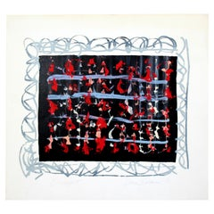 Mid-Century Modern Unframed Abstract Monoprint Signed Dianne Sheldon, 1976