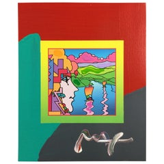 Mid-Century Modern Unframed Geometric Sailboat Blend Lithograph Signed Peter Max