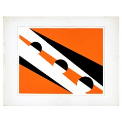 Mid-Century Modern Unframed Helen Gerardia Signed Abstract Lithograph Orange