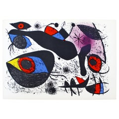 Mid-Century Modern Unframed Joan Miro A L'Encre I 1972 Lithograph with COA