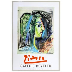 Mid-Century Modern Unframed Pablo Picasso Galerie Beyeler 1970 Poster Paris