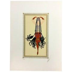 Mid-Century Modern Unframed Scheherezade 6 Harem Erté Hand Signed Lithograph