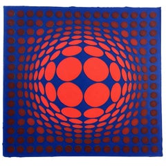 Mid-Century Modern Unframed Sinlag II Victor Vasarely Hand Signed Lithograph