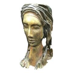 Mid-Century Modern Unique Piece Terracotta Woman Face, 1950