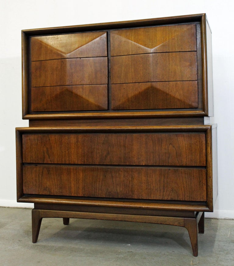 American Mid-Century Modern United Diamond Front Large Walnut Tall Chest Dresser For Sale