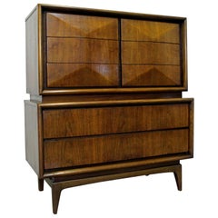 Mid-Century Modern United Diamond Front Large Walnut Tall Chest Dresser