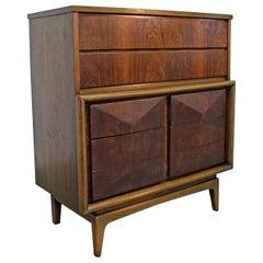 Mid-Century Modern United Diamond Front Walnut Tall Chest Dresser
