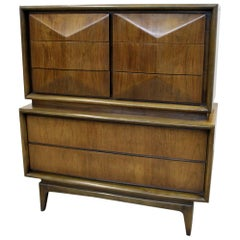 Mid-Century Modern United Diamond Front Walnut Tall Chest of Drawers