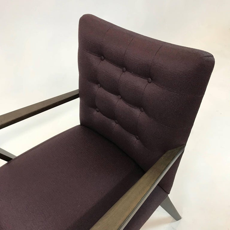 Fabric Mid-Century Modern Upholstered Armchair For Sale