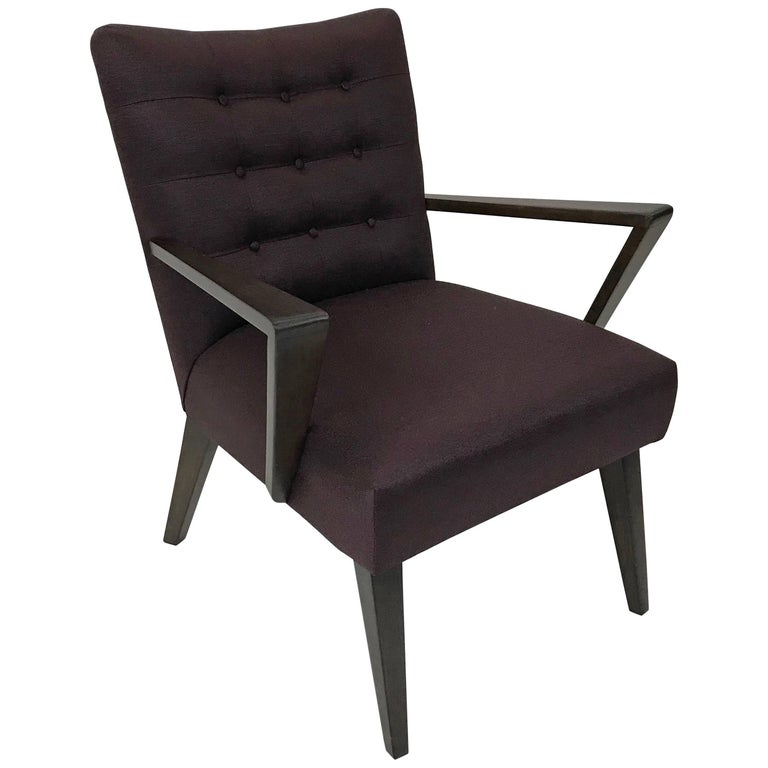 Mid-Century Modern Upholstered Armchair For Sale