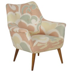 Mid-Century Modern Upholstered Armchair with Splayed Maple Legs, circa 1960s