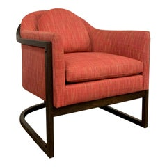 Mid-Century Modern Upholstered Barrel Club Chair Attributed to Harvey Probber