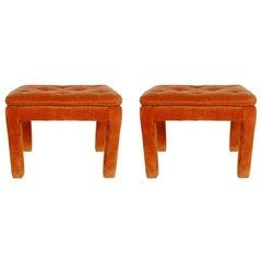 Mid-Century Modern Upholstered Bench Set after Milo Baughman or Billy Baldwin