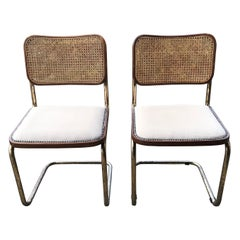 Mid-Century Modern Upholstered Cesca Chair of Marcel Breuer Italy 1970, Set of 2
