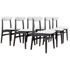 Mid-Century Modern Upholstered Dining Chairs, Set of Six