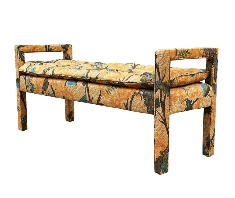 A vintage classic with transitional design lines circa 1970's. This bench features quality vintage construction and still retains it's original fabric. Remarkably clean and ready for use, but could be easily updated with new fabric.
