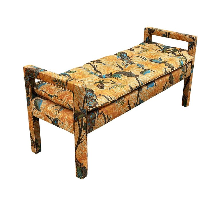 North American Mid-Century Modern Upholstered Parsons Style Bench or Ottoman For Sale
