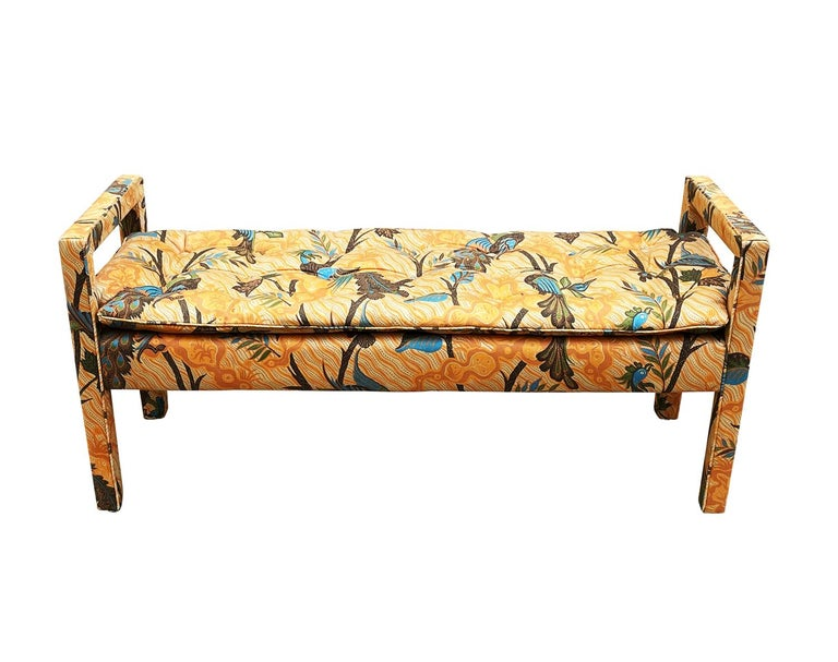 Mid-Century Modern Upholstered Parsons Style Bench or Ottoman In Good Condition For Sale In Philadelphia, PA