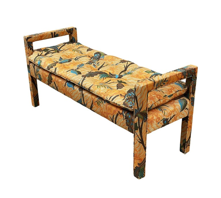 Late 20th Century Mid-Century Modern Upholstered Parsons Style Bench or Ottoman For Sale