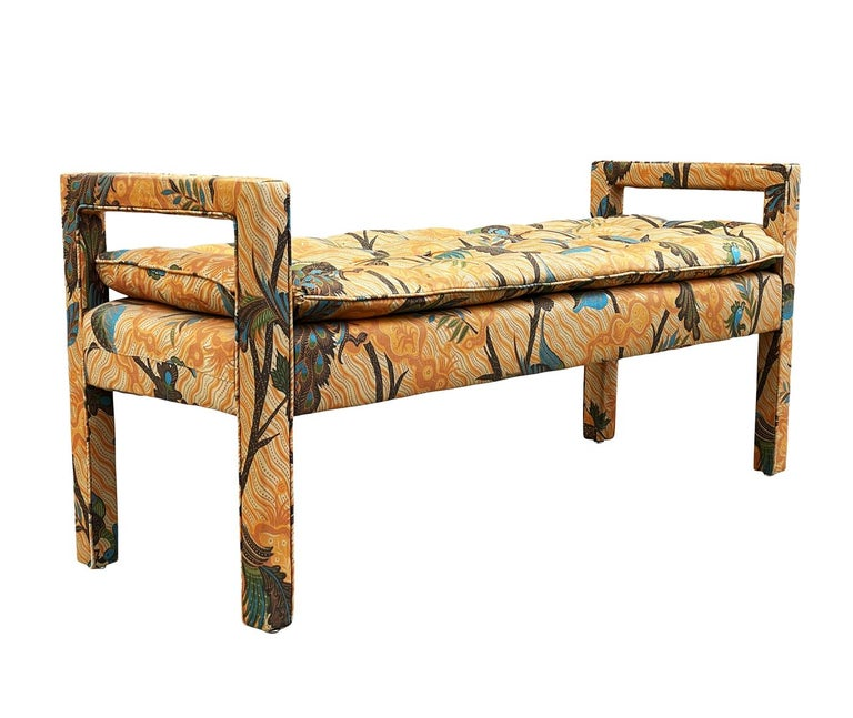Fabric Mid-Century Modern Upholstered Parsons Style Bench or Ottoman For Sale