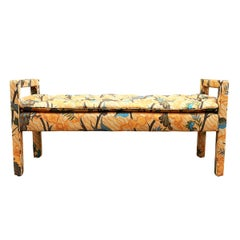 Mid-Century Modern Upholstered Parsons Style Bench or Ottoman