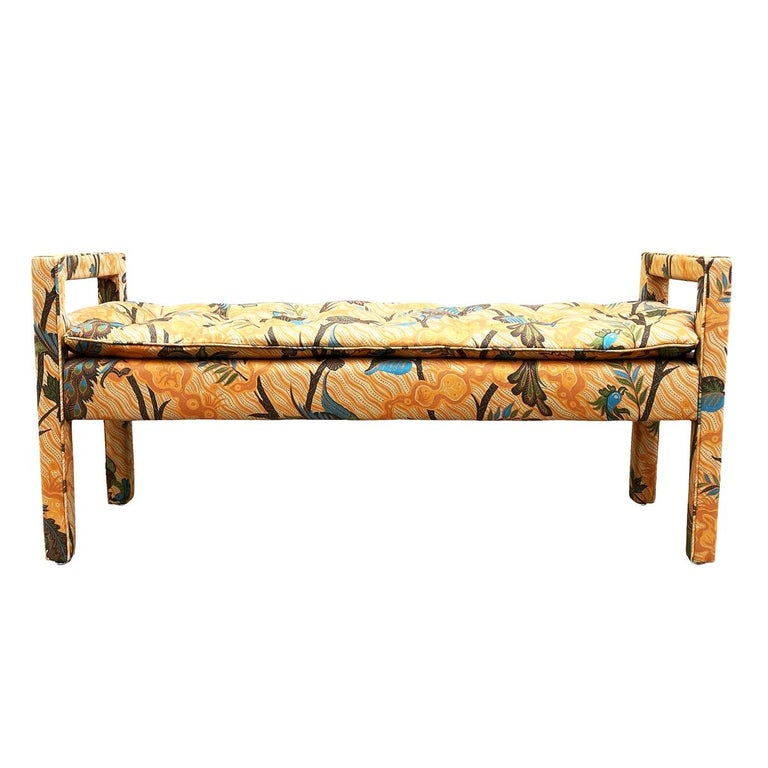 Mid-Century Modern Upholstered Parsons Style Bench or Ottoman For Sale