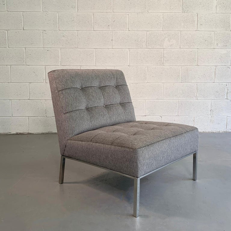 Astounding Mid Century Modern Upholstered Slipper Chair By Florence Knoll Theyellowbook Wood Chair Design Ideas Theyellowbookinfo